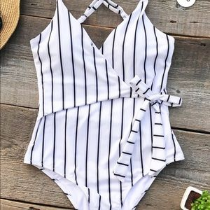 NWT Cupshe stay young striped one piece swimsuit